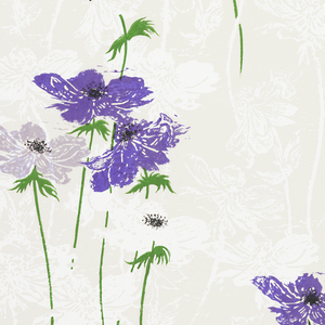 On off-white ground, fill of vertically-oriented stark-white anemones: printed over these, bright purple anemones with green foliage, black details.