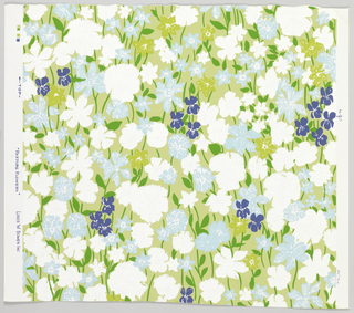 Impressionistically-rendered field flowers including violets, with foliage,all vertically oriented, scattered over flat color ground. a) grayed-green background, white, baby-blue, chartreuse and purple flowers with emerald- green foliage; b) black background, white, turpquiose, chartreause flowers with emerald-green foliage; c) Deep salmon pink background, shocking pink, peach, chartreuse and purple flowers with dull dark green foliage; d) Pink background, white pink, chartreuse, flowers with chartreuse foliage; e) black background, white, beige, wheat and red flowers with gray-blue foliage; f) dark blue background, pale yellow, mustard, white and chartreuse flowers with emerald-green foliage.