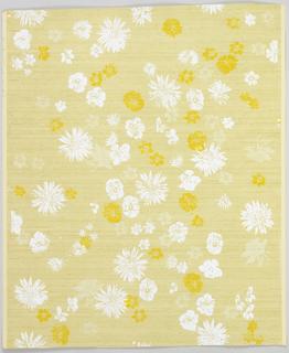 Over gold metallic ground, textured imitation silk fabric, scattered white,beige, bright yellow daisies, pansies, columbines, etc.
