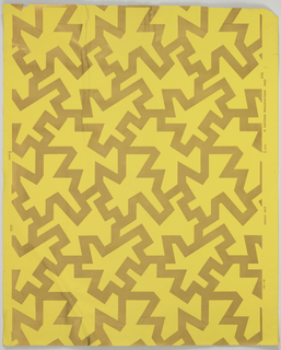 On yellow ocher ground, pattern in metallic gold: sharp angled, erratic, zig-zag bands joining to make closed forms.