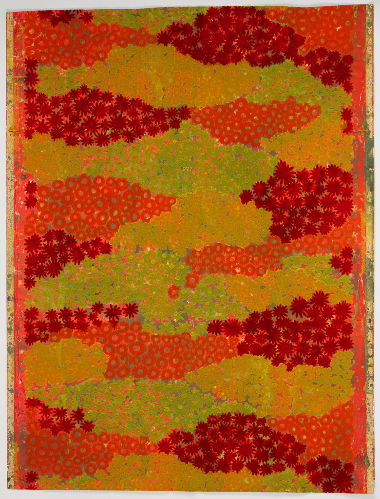 Appearance of fields of small-scale flowers, in red, orange, green and yellow flock, on a marbled silver metallic ground.