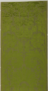 Large-scale anthemian motif, in green flock, printed on a green strie striped ground.