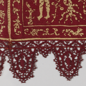 Deep horizontal band with four biblical scenes in off-white on a red silk ground, with deeply scalloped red silk needle lace on three sides. The band consists of four joined panels, each panel depicting a scene which is labeled at the top. The creation of the universe, QUADO CHE IDIO CREO IL MONDO, shows the sun and moon, flowering trees, animals and birds. The creation of Adam and Eve, ADAM  ADAM ET EVA, shows at left Adam alone with a dog, the hand of God removing Adam's rib, and at right Eve emerging from Adam's side. The temptation and flight from Eden, ADAM ET EVA SONO SCACIAI D PARAD, shows Adam receiving the apple from the snake in the Tree of Knowledge on the left, and on the right God casting Adam and Eve out of the gates of the Garden. Cain and Abel the children of earth work, QUANO LA TERA CAIN EVEL SACRIFICANDO, shows on the left a woman nursing a child and a man tilling the soil; on the right two figures kneel before fires.  The figures are reserved in fine undyed linen cloth speckled with embroidered dots, while the background is entirely covered in crimson silk long-legged cross-stitch. Guard borders with sprigs, birds, and animals border each panel.
