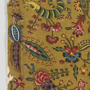 Fragment of printed cotton with small-scale design of exotic flowers and fantastical insects in blue, green, yellow, and many shades of purple, red and pink on a puce ground.