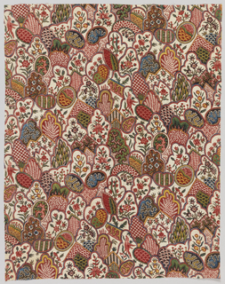 Fragment of printed cotton with a small-scale pattern of overlapping triangular and scalloped arch forms, each filled with finely detailed flowers, leaves, coral, or birds. Printed in black, purple, blue, green, yellow, and several shades of red and pink on an off-white ground.