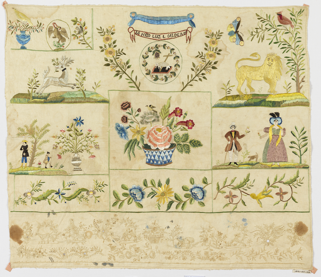 Sampler is divided into squares and rectangles, each with an embroidered motif.  Scenes include: the seal of Mexico, a Pascal Lamb, a lion, a stag, several figures in European-style dress, and numerous floral patterns. A band of whitework extends across the bottom.