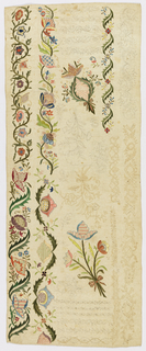 Oblong panel of unbleached linen worked in white linen and colored silks probably as a sampler. At top parts of vine design worked in white; at bottom borders of flowers and foliage in brilliant colors. Unfinished areas are drawn in.