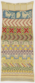Vertical rectangle with horizontal bands of floral and geometric pattern embroidered in bright colors with withdrawn element work in white at top.