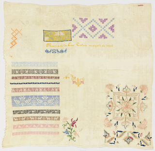Unfinished sampler with horizontal bands of animal patterns in running stitch imitating weaving in the lower left corner, a large floral motif in the lower right corner, a various geometric pattern bands, withdrawn element work, and spot motifs scattered over the ground. Embroidered in pale shades of brown, blue, green, yellow, and pink on a natural ground.