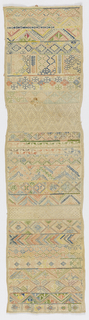 Long vertical rectangle with horizontal bands of geometric pattern embroidered in pale blues, green, yellow, and peach on a natural ground, with bands of withdrawn element work in white.