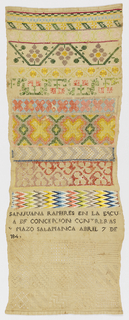 Bands of geometric and floral pattern embroidered in many colors, with squares of withdrawn element work in white at bottom.