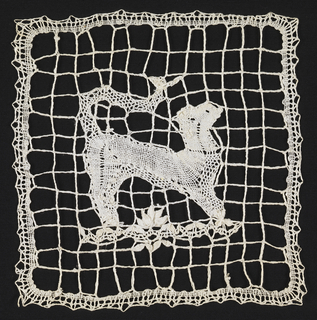 Bobbin lace square with an animal with a long tail and braided square-mesh ground.