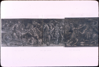 One of a three part drawing.  Drawing of a battle with soldiers on horse and foot.  Central paper is 1901-39-2065.  At left us a soldier mounted on a horse looking left.  At right are two soldiers on foot bother looking at the mounted rider, one with his back turned.