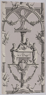 Full width giving more than one repeat of a design with architectural framework enclosing a monument attended by the three graces, below an arch supporting two putti. Printed in black and light gray on gray ground. Pillar and arch format.