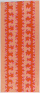 Biomorphic bands forming irregular vertical stripes in fire red outlined in fuchsia on a light pink ground.