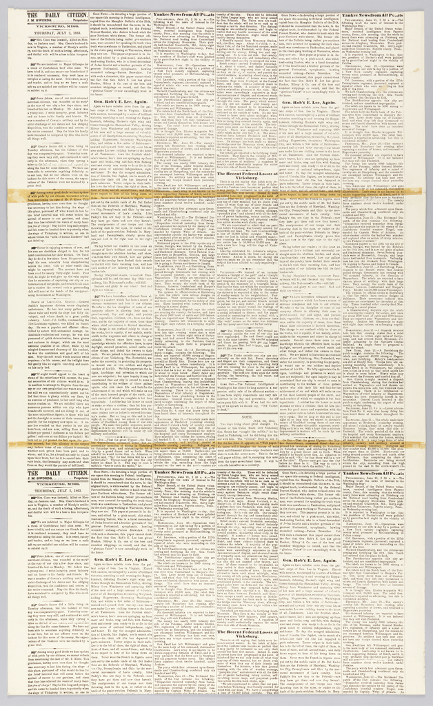 """On white, enlarged black news-type, reproduction of the newsprint of the Civil War era newspaper """"The Daily Citizen"""", Vicksburg, Mississippi, Thursday July 2, 1863 and July 4, 1863."""