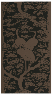 On brown ground, black over-printing leaving reserved large scale pattern of three cranes on branch of orientally stylized tree with round foliage shapes - foliage rises and enframes the cranes.