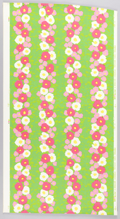 Over white ground, a green background, with vertical stripings of yellow-green foliage, flower splotch shapes in two shades of bright pink, and reserved white flowers with bright yellow centers.