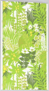 On white ground, vertically-oriented jungle growth in shades of bright greens, one dark green with bright yellow fruits, reversed white flowers.