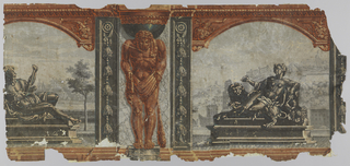 Hercules with lion pelt and club, between arched landscape scenes.