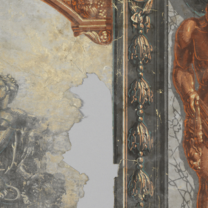 Hercules with lion pelt and club, between arched landscape scenes.  H# 398