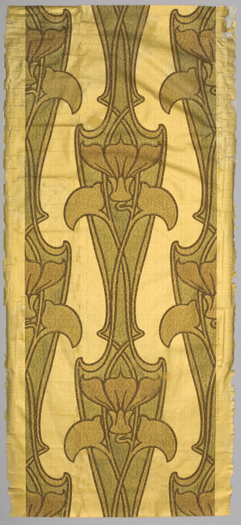 Two shades of thin-bodied brown and green on metallic gold ground over paper embossed to simulate plain woven fabric. Art nouveau design.