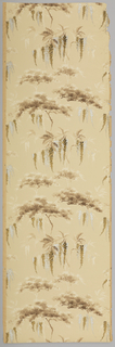 Clumps of pine trees and wisteria blossoms. Printed in browns, silver and off-white on beige ground.