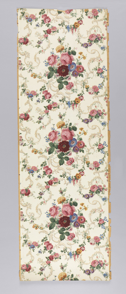 Multi-colored rose pattern with swags and trellis scrolls, printed on white ground.