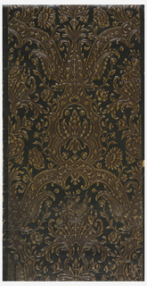 "Embossed ""baroque"" pattern of sunflower, poppy, roses and acanthus leaves, printed in tan and brown. Imitation leather."