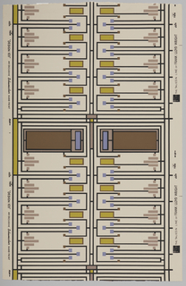 Frank Lloyd Wright design of imitation stained glass in black, taupe, olive and lilac on a beige ground.