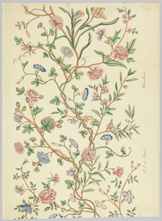 Wallpaper used in restoration of George Washington's home at Mount Vernon, VA. in Nellis Custis Bedroom. The design is a slender and continuous winding tree of life from which bloom carnations, roses and morning glories. Printed to simulate Chinese painted panels for Nancy McClelland. Reproduced from painted textiles.