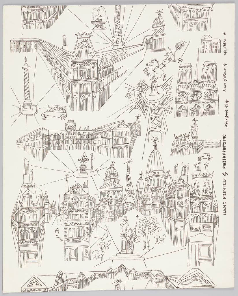A fantasy of Paris, in random arrangement, scale and perspective, showing, among other points of interest: Place de la Concorde, Louvre, Notre Dame; below: Pantheon, Eiffel Tower, and Sacre-Coeur. Printed in black outline on white ground.