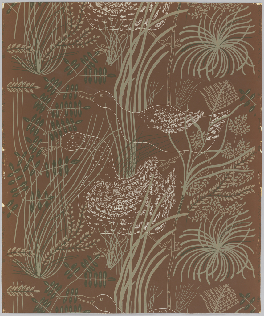 Repeating motif of grasses in dark and pale green with ducks outlined in white on brown ground. Large scale, drop match.