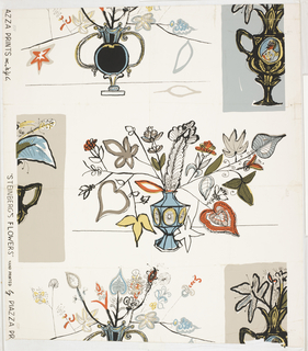 Against a white ground, with widely spaced rectangles of gray-blue and gray-umber broken by the margin, are printed large bouquets of imaginary flowers arranged in vases and urns. Printed to simulate an ink drawing with details in pale red, yellow, blue, green and gray. One full and one half bouquet to the width. Straight repeat, drop match.