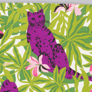 Children's wallpaper with magenta leopards lounging and climbing in dense foliage with large pink flowers. Printed in two shades of green, two shades of pink, magenta, and black on an off-white ground.