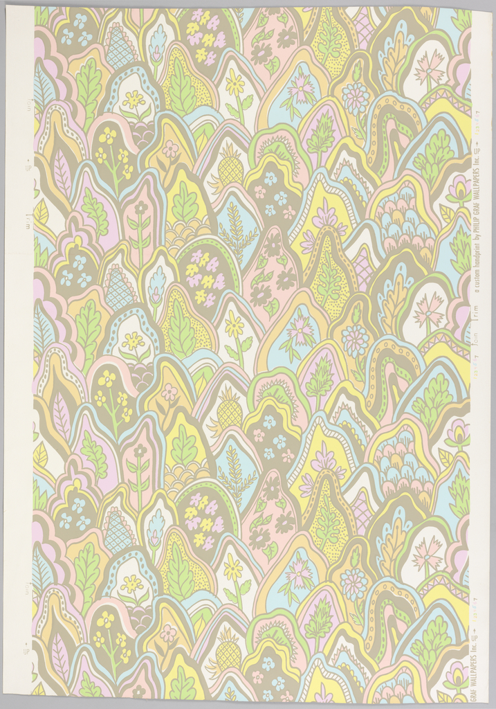 Based on traditional Indian printed pattern. Irregular areas of beige and pastel colors in fish-scale arrangement with flowers, foliage, pineapples in centers of each color area. Beige and pastel shades of pink, peach, lavender, blue, green and yellow.