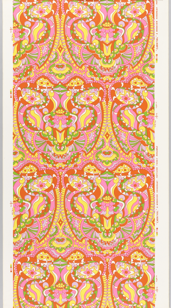 Over white ground, large scale curving enclosed forms built up of many small floral and curving geometric shapes in brightest shades of red, orange, pink, green, yellow, pale lavender.