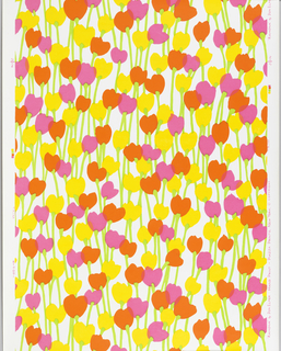 On white ground, scattered simplified flower forms, in brightest pink, orange and yellow, top vertical, irregularly grouped, chartreuse stems.