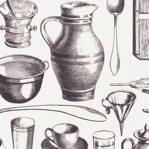 On white ground, photographic reproductions in black of engravings of kitchen utensils, bottles, candlesticks, bellows, etc.