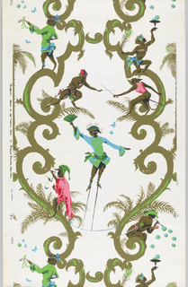 On white ground, olive green scrollwork from which fern-like foliage sprouts, with monkeys, dressed in costumes of ultra-bright green, blue, red and pink, perched on scrollwork. Monkeys playing musical instruments, blowing bubbles.