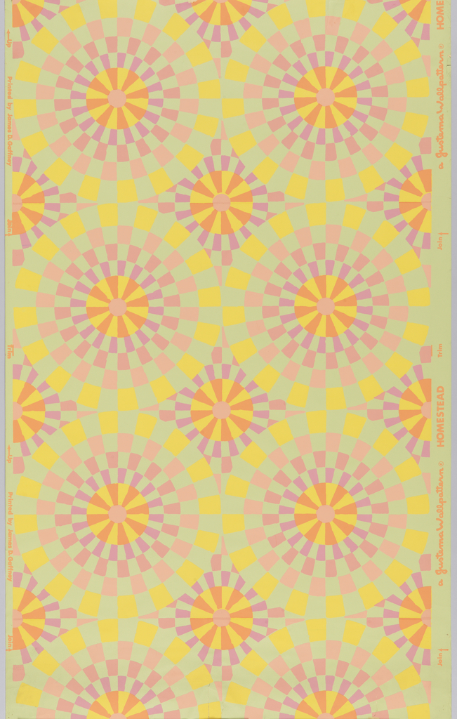 On pale green ground, repeating pattern of large circles built up of wedges of yellow, lavender, orange and two shades of pink, creating a mosaic effect.
