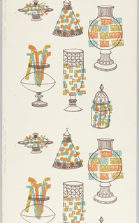 Outlines of stylized jars in dark brown, with candy shapes in blue, pink and mustard.
