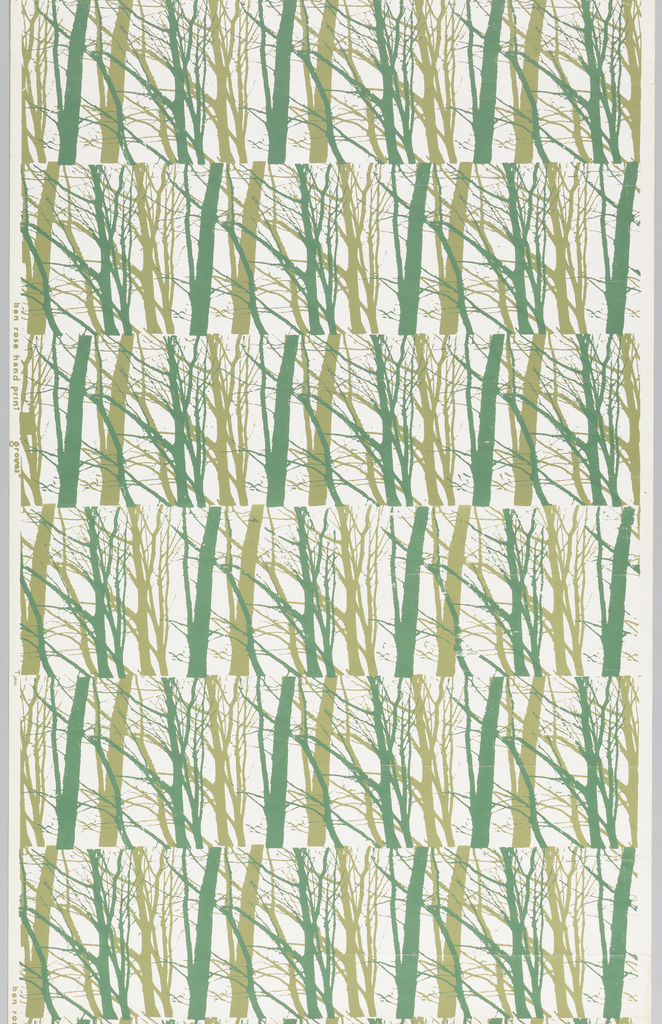 Horizontal bandings of bare tree shapes in two shades of green on white ground.