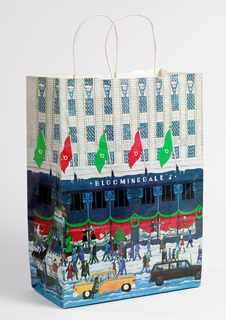 Drawing of store front with street scene below of Christmas decorations with crowd of people passing by department store.