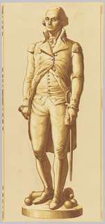 "Wallpaper panel showing full length view of George Washington in cutaway coat with epaulettes and a sword. At his feet are a conventionalized cannon and three cannon balls. All supported by shallow circular base. Imitation of statuary. Of the series ""America's Heroes"" [Les Grands Hommes] which also includes Franklin, Lafayette and Jefferson. Printed on light wood grain background."