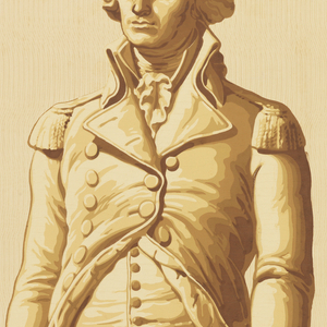 """Wallpaper panel showing full length view of George Washington in cutaway coat with epaulettes and a sword. At his feet are a conventionalized cannon and three cannon balls. All supported by shallow circular base. Imitation of statuary. Of the series """"America's Heroes"""" [Les Grands Hommes] which also includes Franklin, Lafayette and Jefferson. Printed on light wood grain background."""