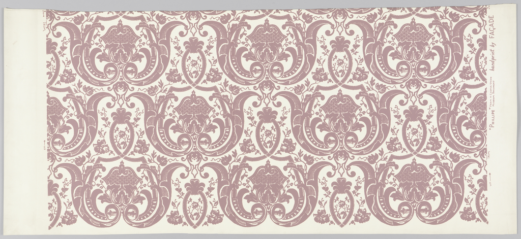 """Symmetrical design in baroque style of scrolls, interlaced bands and floral sprays, printed in light cocoa color on white. On margin: """"'Phillipe' from a Cooper Union Museum Document Handprint by Facade""""."""