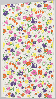 On white ground, scattered flower sprigs, green foliage, purple, orange, hot pink, and yellow flowers.