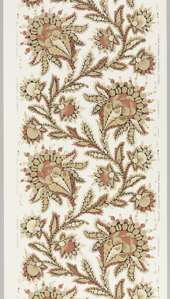 On white ground pattern in two shades of beige, rust, brown and black sea shells arranged in a vining floral configuration.