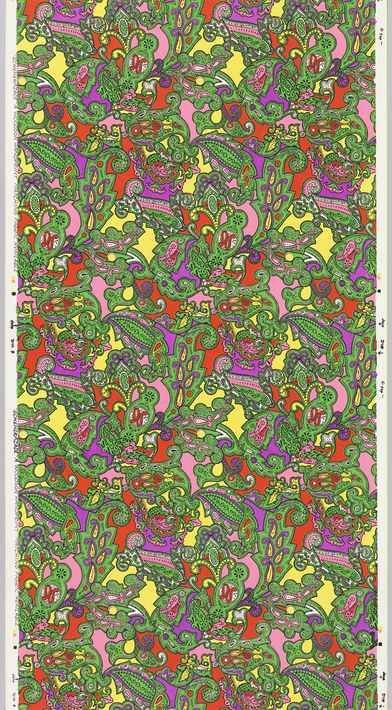 Paisley pattern in vibrant green, yellow, red, hot pink and lavender.
